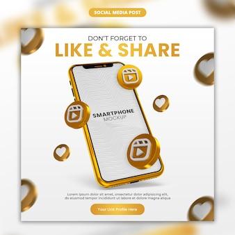 3d render icona di bobine di instagram oro e smartphone social media e modello di post di instagram