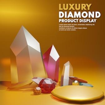 3d render diamante di lusso in oro per il posizionamento della presentazione del prodotto