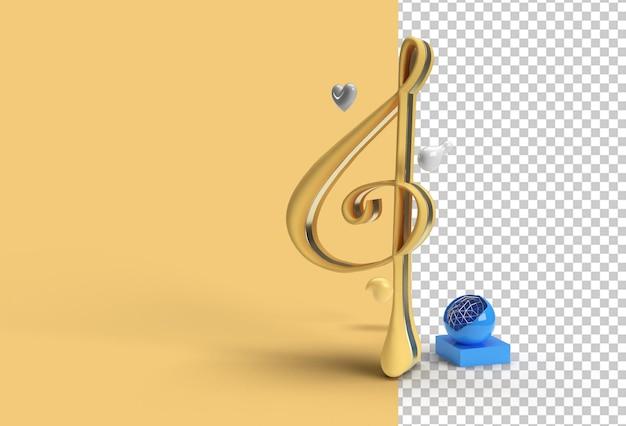 Render 3d file psd trasparente con nota musicale dorata.