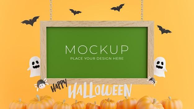 Rendering 3d della lavagna verde con il concetto di halloween per la visualizzazione del prodotto