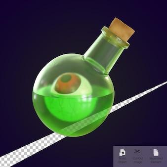 3d rendono la bottiglia di pozione verde con bulbo oculare