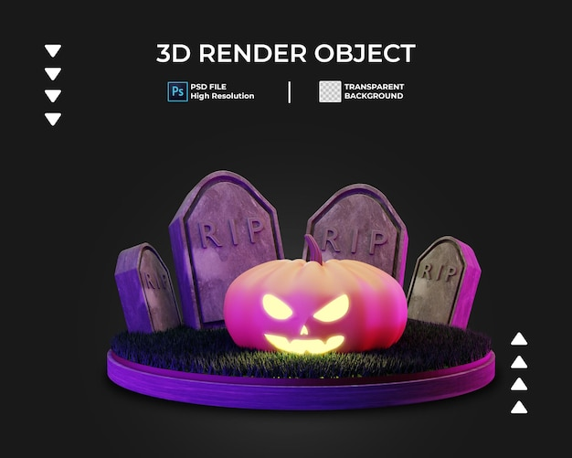 Rendering 3d dell'icona di halloween isolata Psd Premium