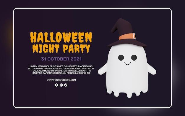 Rendering 3d del modello di banner festa di halloween