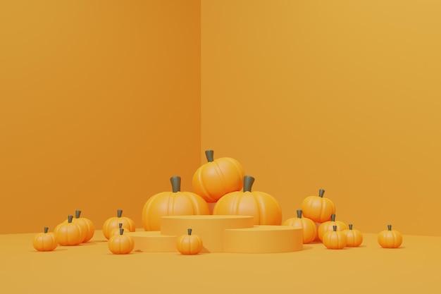 3d render podio di halloween per la presentazione del prodotto