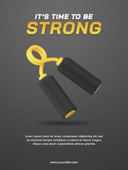 Pinza a mano di rendering 3d con modello di progettazione di poster a tema scuro