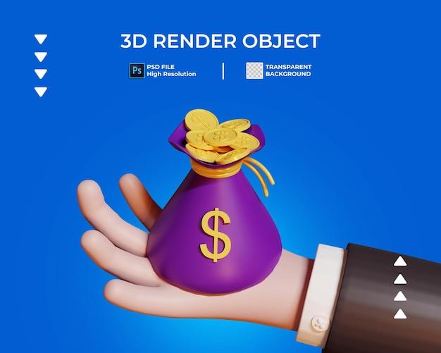 3d rendono della mano con un sacchetto dell'icona della moneta d'oro isolata