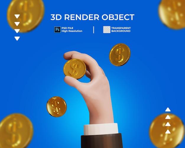 Rendering 3d della mano con l'icona della moneta d'oro isolata