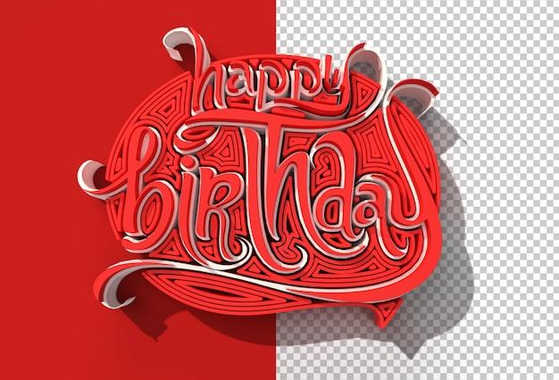 File psd trasparente di testo di buon compleanno rendering 3d.