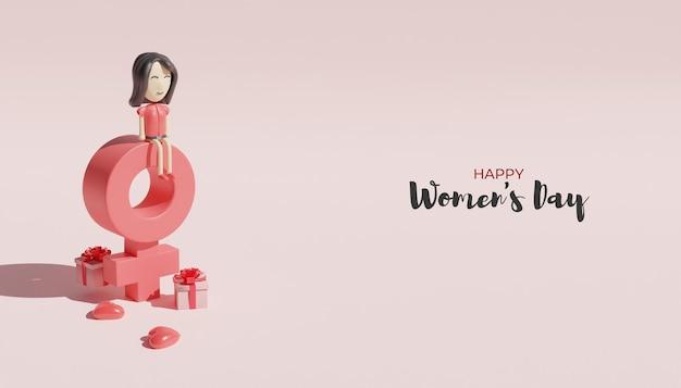 Rendering 3d progettazione felice festa della donna con carattere femminile e simbolo femminile