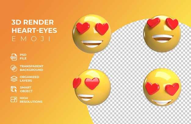 3d render emoji occhio cuore