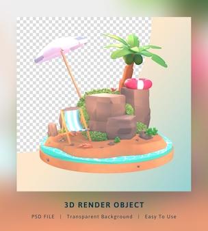 3d rendering ciao modello di illustrazione estiva con albero di cocco e ombrellone da spiaggia