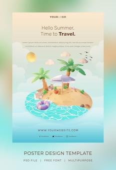 Rendering 3d, modello di poster hello summer, con illustrazione di albero di cocco e ombrellone da spiaggia