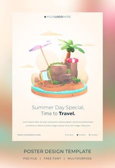 Rendering 3d modello di poster ciao estate con illustrazione albero di cocco e ombrellone spiaggia
