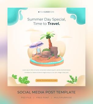 Rendering 3d ciao modello di post sui social media estivi con illustrazione albero di cocco e ombrellone
