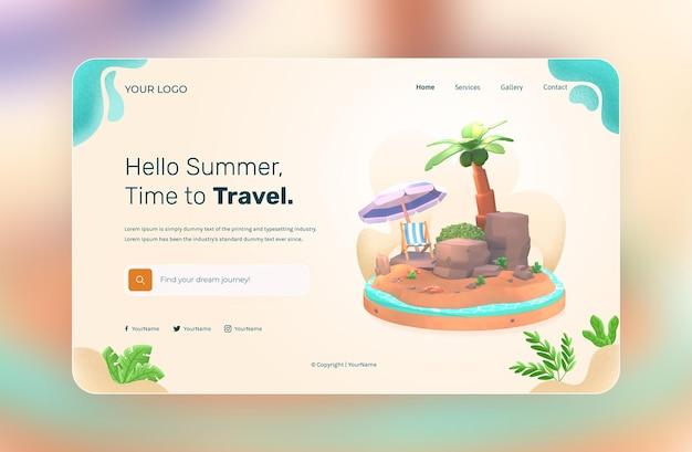 Rendering 3d modello di sito web hello summer con illustrazione di albero di cocco e ombrellone da spiaggia