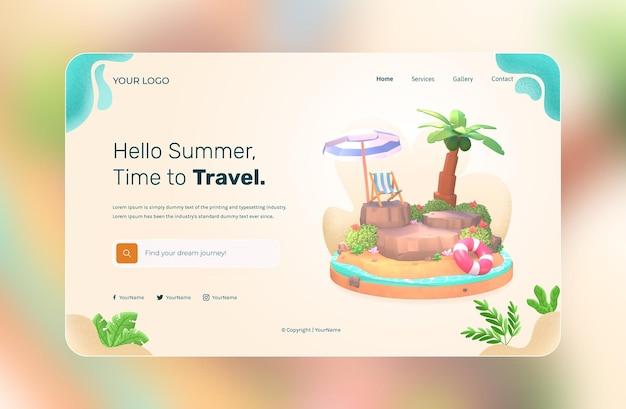 Rendering 3d, hello summer, modello di sito web, con illustrazione albero di cocco e spiaggia ombrellone