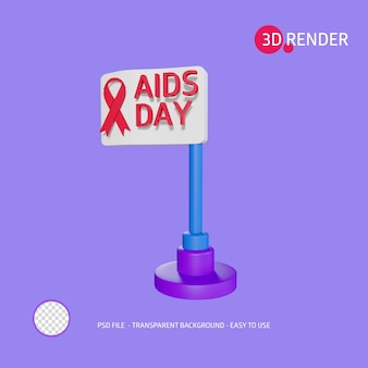 Icona di rendering 3d aiuta la bandiera