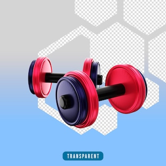 Icona di rendering 3d attrezzatura da palestra con manubri