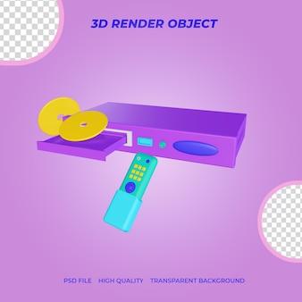 3d render icon lettore dvd con telecomando