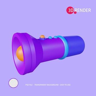 Icona di rendering 3d torcia elettrica