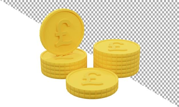 3d render icona monete d'oro libbre