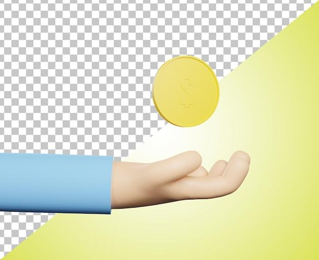 3d render icona mano con moneta