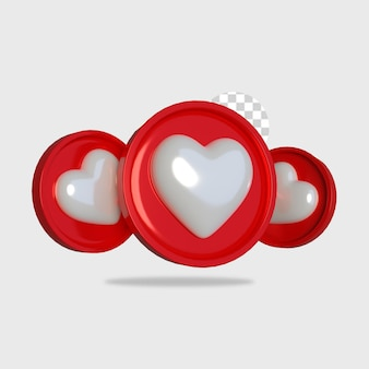 3d rendering icona amore design