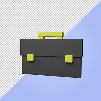3d render valigia icona per la scuola