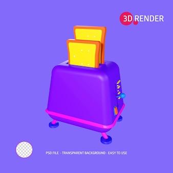 Icona di rendering 3d tostapane