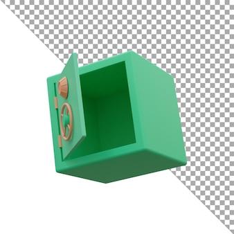3d rendering icona illustrazione cassetta di sicurezza