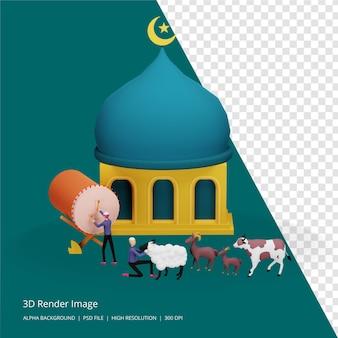 3d render illustrazione del concetto islamico
