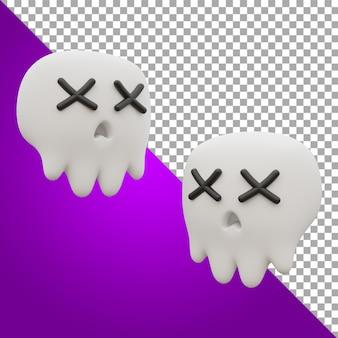 3d render illustrazione teschio halloween