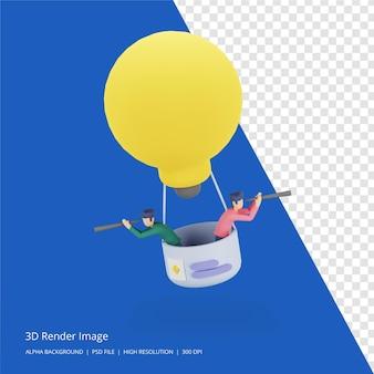 3d rendono l'illustrazione del concetto di idea di brainstorming aziendale di lavoro di squadra con una grande lampada a lampadina gialla, personaggio minuscolo di persone