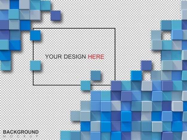 Immagine di rendering 3d di boschi cubici colorati allineati alla parete
