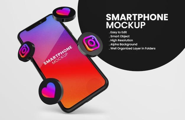 3d rende l'icona di instagram sul modello di smartphone nero