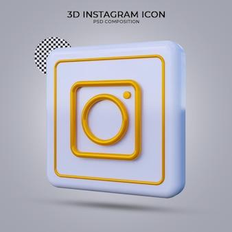 3d rende l'icona di instagram isolata