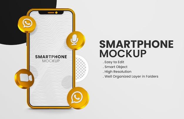 3d rende l'icona delle bobine di instagram sul modello dello smartphone oro