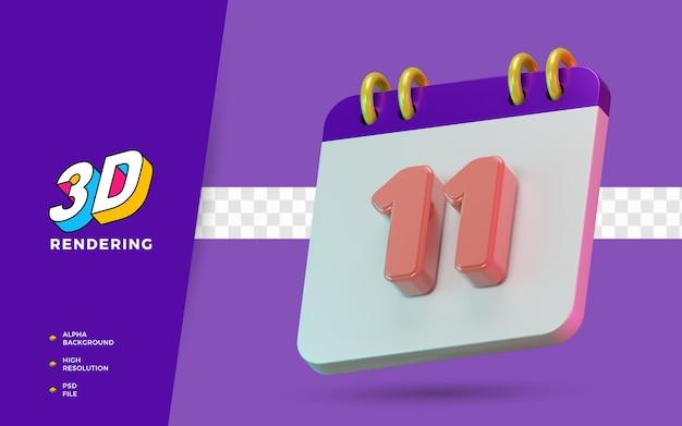 3d render calendario di simboli isolati di 11 giorni per promemoria o pianificazione giornalieri Psd Premium