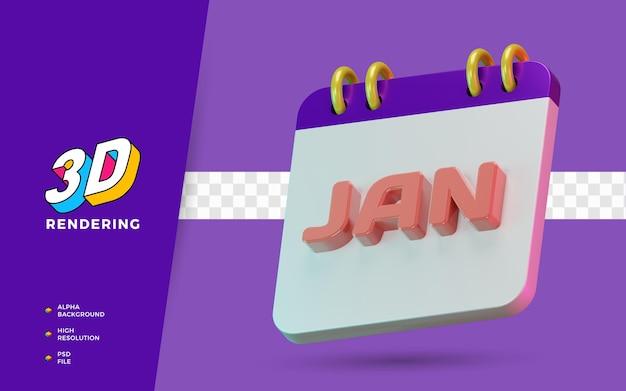 3d render simbolo isolato dei mesi di gennaio del calendario per promemoria o pianificazione quotidiana
