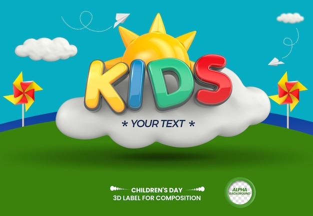 3d render etichetta bambini per la composizione il giorno dei bambini torna a scuola in generale