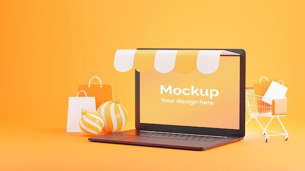 Rendering 3d del negozio di computer portatile con il concetto di acquisto in linea