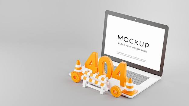 Rendering 3d di laptop con pagina di errore 404 non trovata isolata