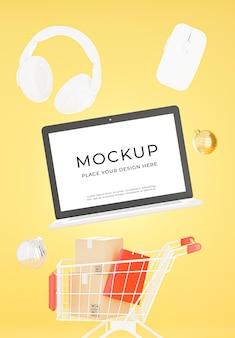 Rendering 3d di laptop con design mockup concept shopping shopping