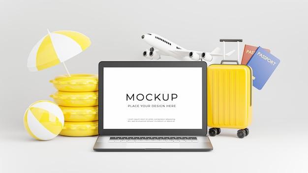Rendering 3d di laptop con concetto di turismo estivo Psd Premium