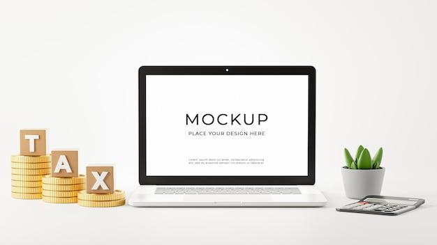 Rendering 3d di laptop con concetto di imposta per il tuo design di mockup