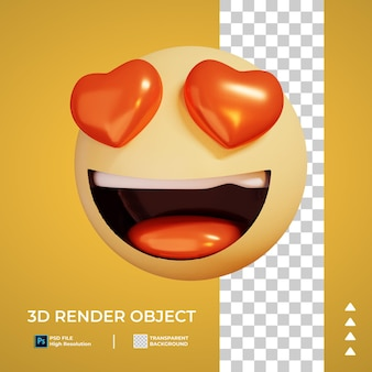 Rendering 3d dell'icona emoticon d'amore