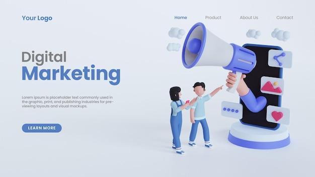 3d rendono la mano della donna dell'uomo che tiene il modello della pagina di destinazione del concetto di marketing digitale online del megafono