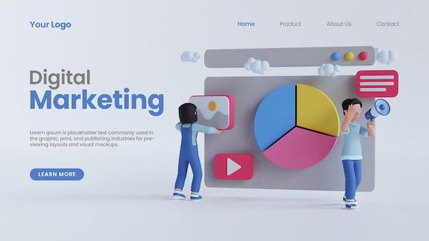 3d render uomo donna grafico a torta schermo carattere concetto di marketing digitale landing page modello psd