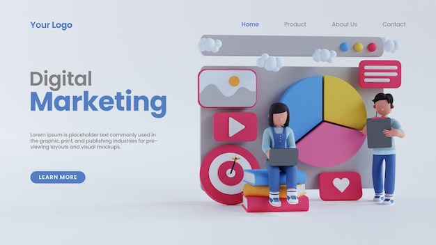 3d rendering uomo donna grafico a torta concetto schermo online marketing digitale landing page template psd