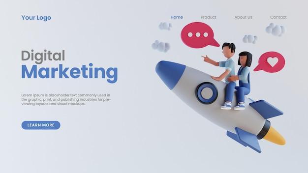 3d rendono l'uomo e la donna guidano il modello psd della pagina di destinazione del concetto di marketing digitale online del razzo 3d